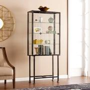 """SEI 68.25"""" Metal/Glass Sliding-Door Display Cabinet - Black  (HZ8864)"""