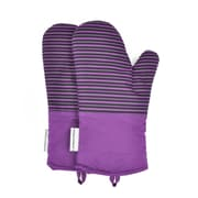 L.A Sweet Home Striped Oven Mitt (Set of 2); Purple