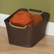 Household Essentials Tapered Storage Bin w/ Wood Handle; Small