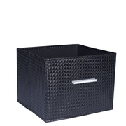 Household Essentials Open Storage Bin w/ Aluminum Handle; Black