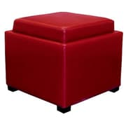 New Pacific Direct Cameron Leather Storage Ottoman; Red