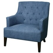 New Pacific Direct Corinne Tufted Back Fabric Arm Chair; Indigo