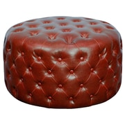 New Pacific Direct Lulu Round Tufted Ottoman; Vintage Red