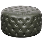 New Pacific Direct Lulu Round Tufted Ottoman; Vintage Gray