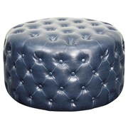 New Pacific Direct Lulu Round Tufted Ottoman; Vintage Blue