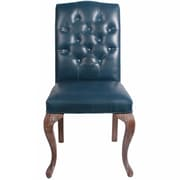 New Pacific Direct Eliette Bonded Leather Side Chair (Set of 2); Vintage Blue