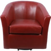 New Pacific Direct Ernest Bonded Leather Swivel Barrel Chair; Vintage Red
