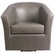 New Pacific Direct Ernest Bonded Leather Swivel Barrel Chair; Vintage Gray