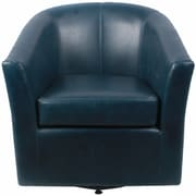 New Pacific Direct Ernest Bonded Leather Swivel Barrel Chair; Vintage Blue