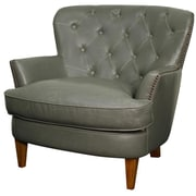 New Pacific Direct Emma Bonded Leather Tufted Back Chair and a Half; Vintage Gray
