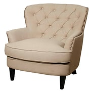 New Pacific Direct Emma Tufted Back Fabric Chair and a Half; Khaki