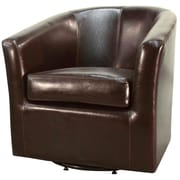 New Pacific Direct Hayden Swivel Bonded Leather Barrel Chair; Brown