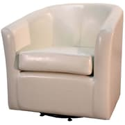 New Pacific Direct Hayden Swivel Bonded Leather Barrel Chair; Beige