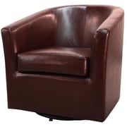 New Pacific Direct Hayden Swivel Bonded Leather Barrel Chair; Saddle Brown