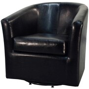 New Pacific Direct Hayden Swivel Bonded Leather Barrel Chair; Black