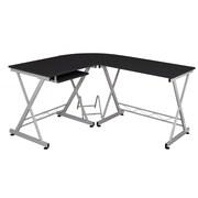 Fineboard Keyboard Tray L-Shape Writing Desk; Black/Silver