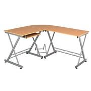 Fineboard Keyboard Tray L-Shape Writing Desk; Begie/Silver