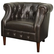 New Pacific Direct Luna Bonded Leather Tufted Barrel Chair; Vintage Dark Brown