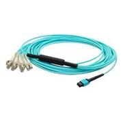 AddOn® 9.8' Laser-Optimized OM3 Multi-Mode Fiber Duplex MPO to LC Female/Male Patch Cable, Aqua