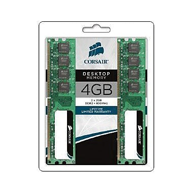 Corsair® VS4GBKIT800D2 4GB (2x2GB) DDR2 SDRAM DIMM 240-pin DDR2-800/PC2-6400 Desktop RAM Module