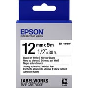 "Epson® LabelWorks LK-4WBW 1/2"" Strong Adhesive Tape Cartridge, Black on White"