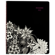 "2017 AT-A-GLANCE® FloraDoodle Premium Weekly/Monthly Appointment Book/Planner, 13 Months, 8 1/2"" x 11"", Black/White (589-905-17)"