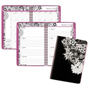 "2017 AT-A-GLANCE® FloraDoodle Premium Weekly/Monthly Planner, 13 Months, 5 1/2"" x 8 1/2"", Black/White (589-200-17)"