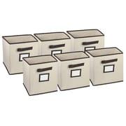 Hangorize Collapsible Fabric Cubicle Storage Bin w/ Label Window (Set of 6); Beige