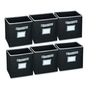 Hangorize Collapsible Fabric Cubicle Storage Bin w/ Label Window (Set of 6); Black