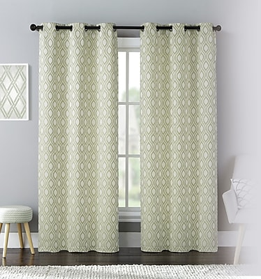 United Curtain Co. Mystique Curtain Panel (Set of 2); Green WYF078279560031