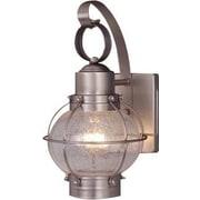 Vaxcel Nautical 1 Light Outdoor Wall Lantern; Brushed Nickel