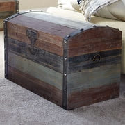 Household Essentials Small Weathered Wooden Storage Trunk