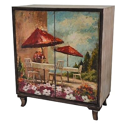 Crestview Florence Rustic Wood Painted Canvas Italian Bistro 2 Door Cabinet WYF078279565197