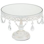 AmalfiDecor Anastasia Metal Mirror Top Cake Stand; White Washed