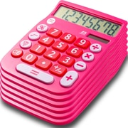 Office + Style 8 Digit Calculator- Pink 6 Pack