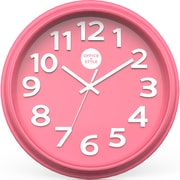 "Office + Style 13"" Silent Quartz Color Wall Clock with Anti-Scratch Cover OS-1CLOCK- Pink"