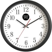 "Office + Style 13"" Silent Quartz Color Wall Clock with Anti-Scratch Cover- Black"