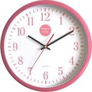 "Office + Style 13"" Silent Quartz Color Wall Clock with Anti-Scratch Cover OS-2CLOCK- Pink"