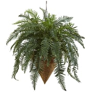 Nearly Natural Giant River Fern Hanging Plant in Basket