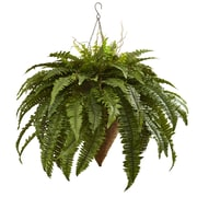 Nearly Natural Giant Boston Fern Hanging Plant in Basket
