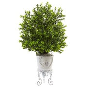 Nearly Natural Hudson Boxwood Plant in Planter