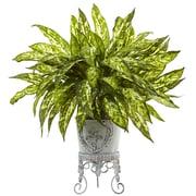 Nearly Natural Aglaonema Plant in Planter