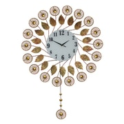 Three Star Elegant Autumn Flower Pendulum Wall Clock