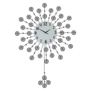 Three Star Elegant Flower Line Pendulum Round Wall Clock