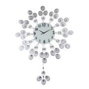 Three Star Elegant Silver Peacock Pendulum Wall Clock