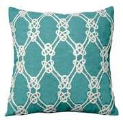 Rightside Design I Sea Life Nautical Rope Patterned Throw Pillow; Turquoise