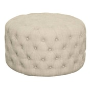 New Pacific Direct Lulu Round Tufted Ottoman; Fabric Flax
