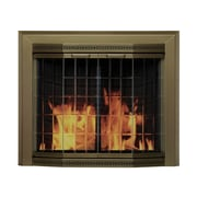 Pleasant Hearth Grandior Bay Fireplace Screen and Bi-Fold Track-Free Elegant Clear Glass Door