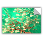 Almond Blossom-Interpretation In Emerald Green by Vincent Van Gogh Art Appeelz Removable Wall Mural