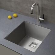 Pax  Zero-Radius 18.5'' x 18.5'' 18 Gauge Handmade Undermount Single Bowl Stainless Steel Bar Sink